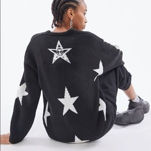 Obey Star Cardigan - black and white - size small